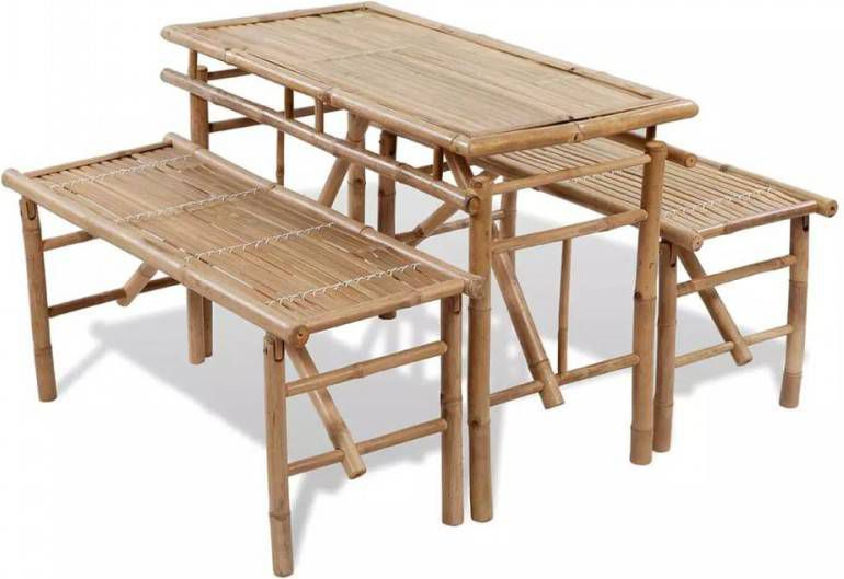 Picknick tafel set inklapbaar bamboe delig tuinset kopen