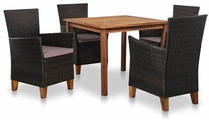 Wicker Eettafel Set Met 8 Stoelen En 4 Krukken Zwart.Vidaxl Tuinset Poly Rattan En Massief Acaciahout 17 Delig